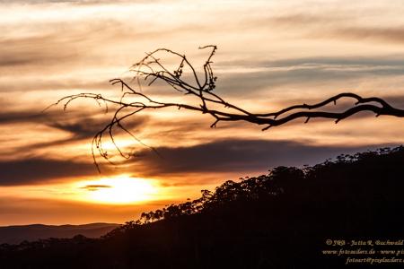 Himmelszeichnungen bei Sonnenuntergang in den Blue Mountains